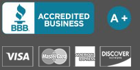 Better Business Bureau Accredited A+ Rating. Visa, MasterCard, AMEX and Discover credit cards accepted.